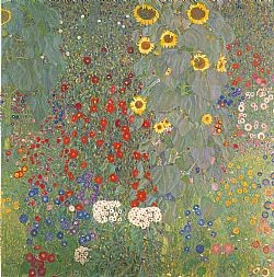 Farm garden with sunflowers Klimt Gustav