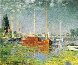 Red boats Monet Glaude