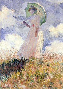 Woman with a parasol Monet Glaude