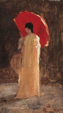 Γυναίκα με κόκκινη ομπρέλα Γύζης Νικόλαος